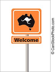 bem-vindo, laranja, sinal, austrália