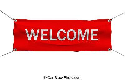 bem-vindo, mensagem, bandeira