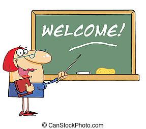 bem-vindo, mulher, professor, apontar