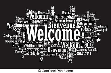 bem-vindo, palavra, nuvem, ilustração