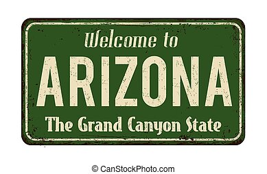 bem-vindo, para, arizona, vindima, metal enferrujado, sinal