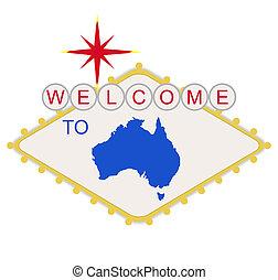 bem-vindo, para, austrália, sinal