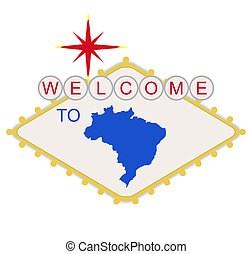 bem-vindo, para, brasil, sinal