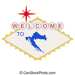 bem-vindo, para, croácia, sinal