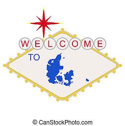 bem-vindo, para, dinamarca, sinal