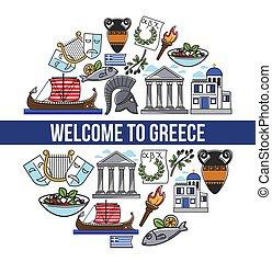 bem-vindo, para, grécia, promocional, cartaz, com, símbolos...