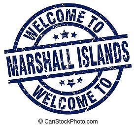 bem-vindo, para, ilhas marshall, azul, selo