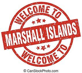 bem-vindo, para, ilhas marshall, vermelho, selo