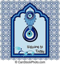 bem-vindo, para, peru, saudação, carreta, modelo, com, turco, tradicional, vidro, amuleto, boncuk, olho mal