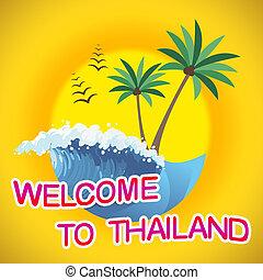 bem-vindo, para, tailandia, indica, tempo verão, e, costas