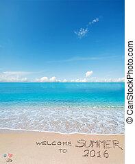 bem-vindo, para, verão, 2016, escrito, ligado, um, praia tropical