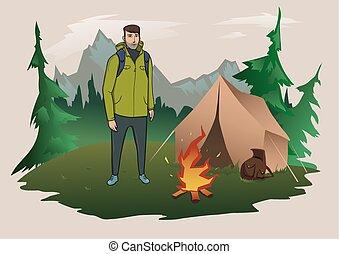 beman met rugzak, op, de, achtergrond, van, de, berg, landschap., vuur, en, tent., berg, toerisme, wandelende, actief, buiten, recreation., vrijstaand, vector, illustration.