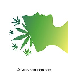 bemanna, cannabis, bladen, huvud, silhuett