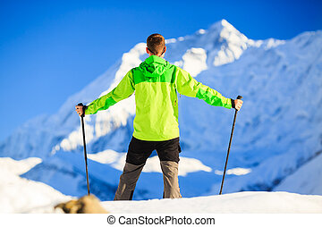 bemanna fotvandra, in, himalaya, mountains, in, nepal