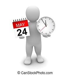 bemanna hålla klocka, och, calendar., 3, återgäldat,...