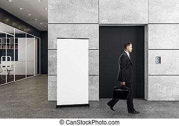 bemanna i ämbete, med, hiss, och, affisch