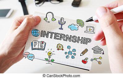 bemanna, internship, anteckningsbok, hand, begrepp, teckning