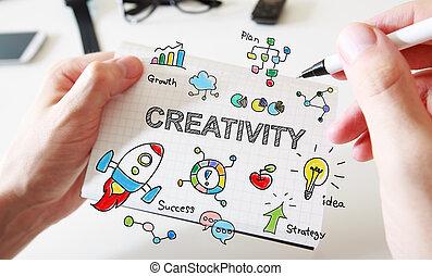 bemanna, kreativitet, anteckningsbok, hand, begrepp, teckning