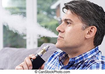bemanna, moget, användande, vapourizer, som, rökning, alternativ