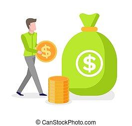 bemanna, pengar, räcker, väska, gyllene, dollar, mynt