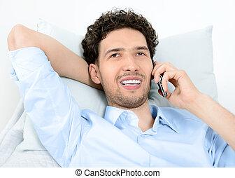 bemanna prata, på, rörlig telefonera