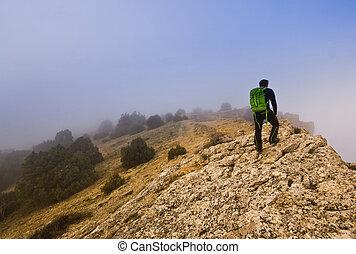bemanna promenera, brynet, av, a, klippa, in, dimmig, väder