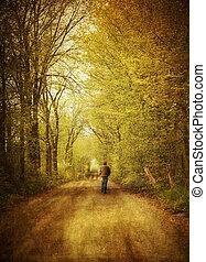 bemanna promenera, på, a, ensam, landsroad