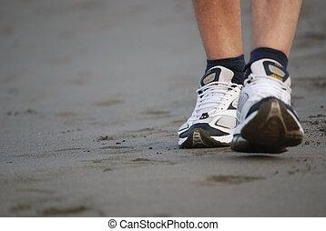 bemanna promenera, på, strand