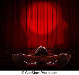 bemanna sitta, allena, in, mörk, sal, och, tittande på, hans, hjärna, gardin
