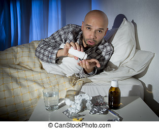 bemanna, sjuk, lägga in blomsterbädd, lidande, kall, och, vinter, influensa virus, ha, medicin, och, lertavlor