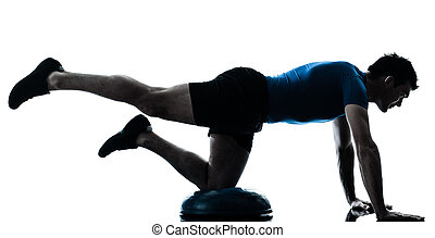 bemanna utöva, bosu, genomkörare, fitness, ställing