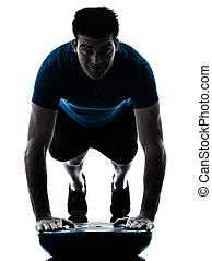 bemanna utöva, bosu, trycka, ups, genomkörare, fitness, ställing