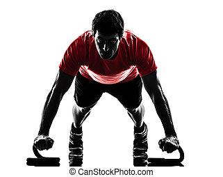 bemanna utöva, fitness, genomkörare, trycka, ups, silhuett