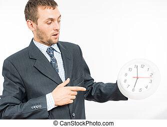 bemannen houdend klok