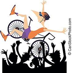 bemannen illustratie, hardloop, spotprent, winnen, fiets, vrijstaand, ritten