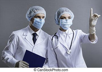 bemannen vrouw, samen, werkende , artsen
