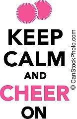 bemoedigen, bewaren, kalm, cheerleading