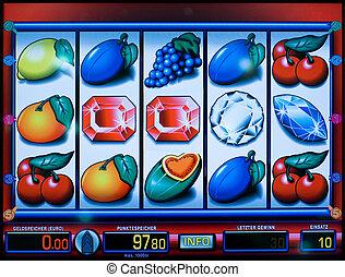 bemutatás, közül, egy, gyümölcs gép