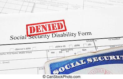 benægt, social security, udygtighed, ansøgning