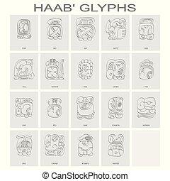 benævnt, associer, måneder, haab, maya, kalender, glyphs