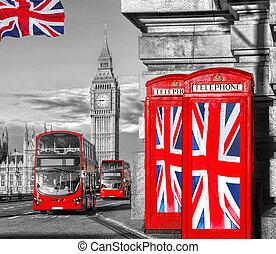 ben, bås, förening, stor, england, brittisk, ringa, flaggan, mot, uk, london