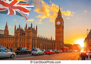 ben, barwny, cielna, przeciw, zachód słońca, uk, londyn