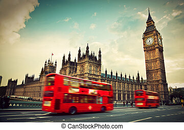 ben, cielna, ruch, uk., autobus, londyn, czerwony