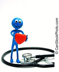 Ben D.Man with heart & stethoscope