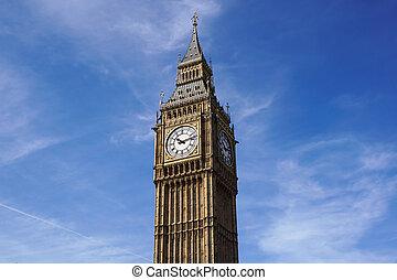 ben, elizabeth, palácio, rosto relógio, grande, westminster, reino unido, torre, londres