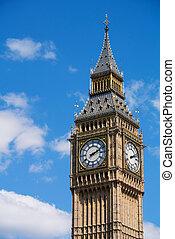 ben, elizabeth, zegar, cielna, england., westminster, londyn, wieża