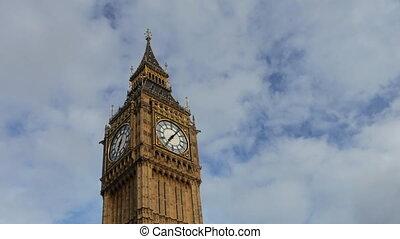 ben, grand, timelapse, horloge, westminster, londres, parlement