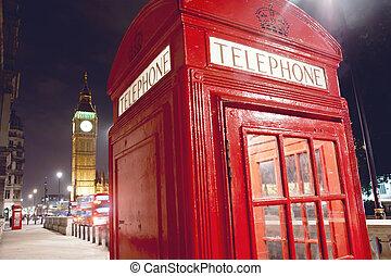 Ben, grande, telefone, Londres, barraca, vermelho