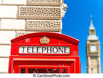 Ben, grande,  -, telefone, Londres, barraca, sob, vermelho