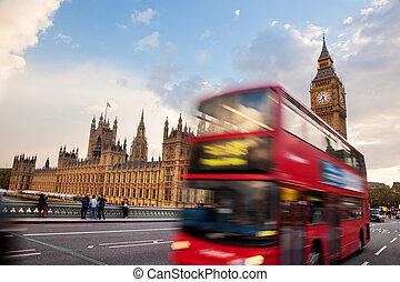 ben, groot, motie, uk., bus, londen, rood